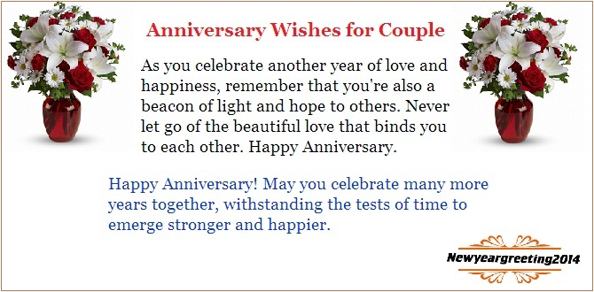 Anniversary Wishes For Couple With Celebration Quote