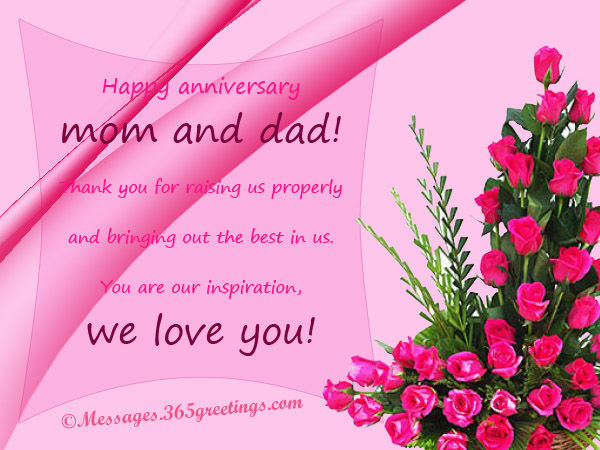 Anniversary Wishes For Mom And Dad With Dale Of Flowers