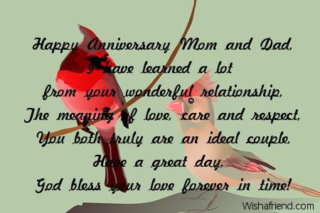 Anniversary Wishes For Parents With Blessings