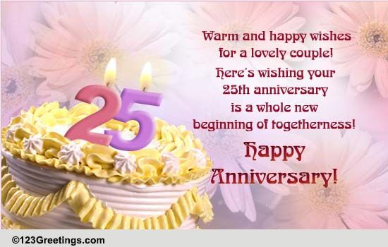 25 years wedding anniversary greeting cards : Happy th wedding anniversary wishes and greeting card