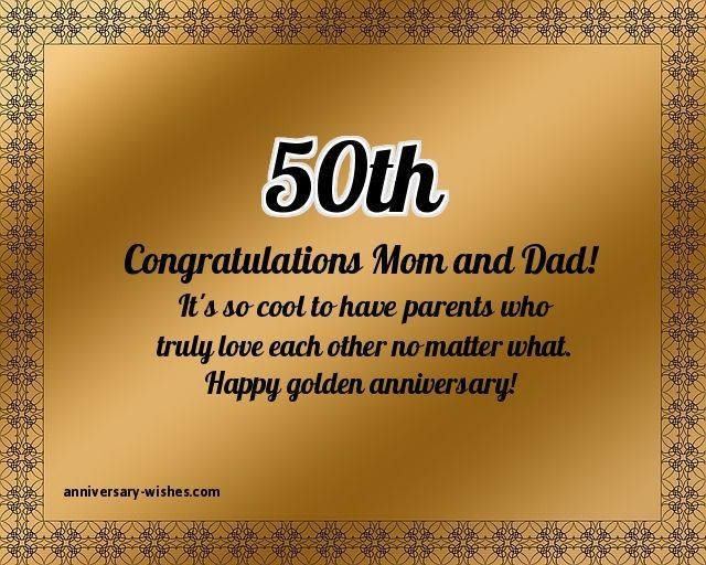 Happy 50th Golden Anniversary Wishing To Mom And Dad