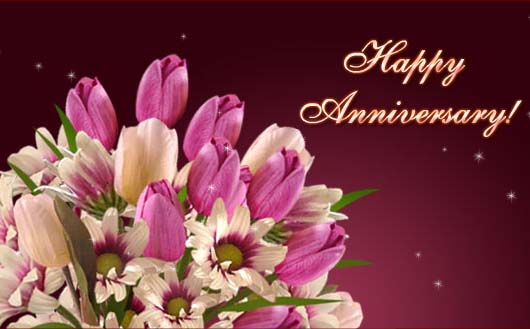 Happy anniversary greetings card with bouquet flowers nicewishes