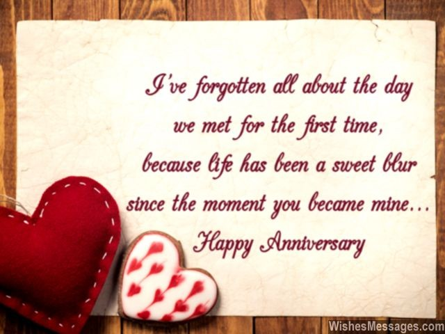 Happy anniversary prodigious quote with couple of hearts nicewishes