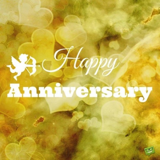 Happy Anniversary Wishes Pictures With Cupids And Golden Heart