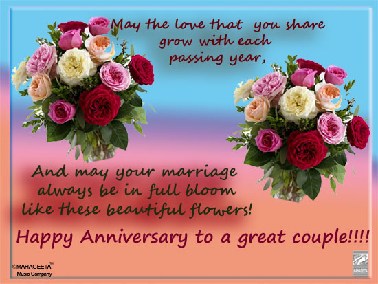 Happy anniversary awesome wishes to friend with flowers nicewishes