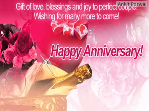 Happy anniversary greetings with flowers and gift nicewishes