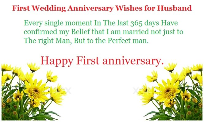 Happy First Anniversary Wishes For My Husband