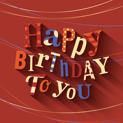 Happy birthday greeting card. Text on red background.