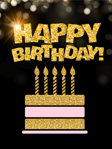 Birthday Golden Card For You