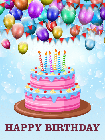 Delightful Birthday E-Card With Candles And Balloons
