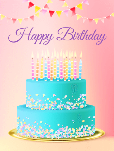 Delightful Birthday E-Card With Marvelous Wishes And Candles