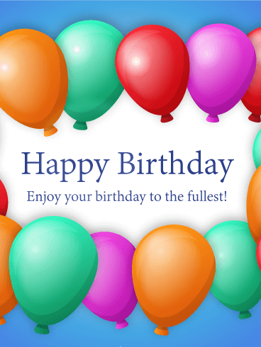 Elegant Birthday Greeting Card With Colorful Balloons