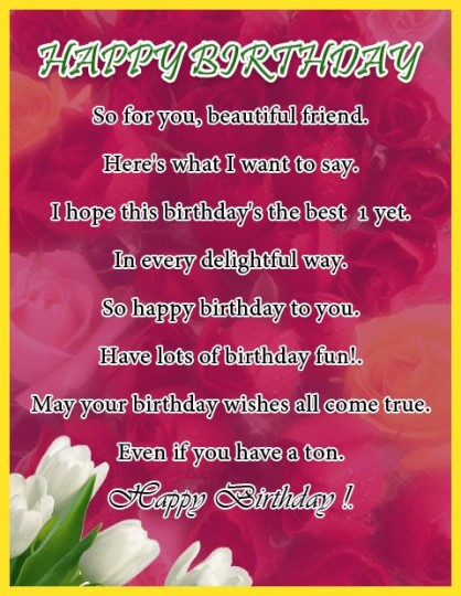 Fantastic Birthday Poem With Flowers