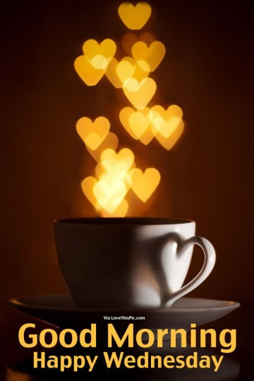 Good Morning Wednesday Wishes With Cup Of Coffee