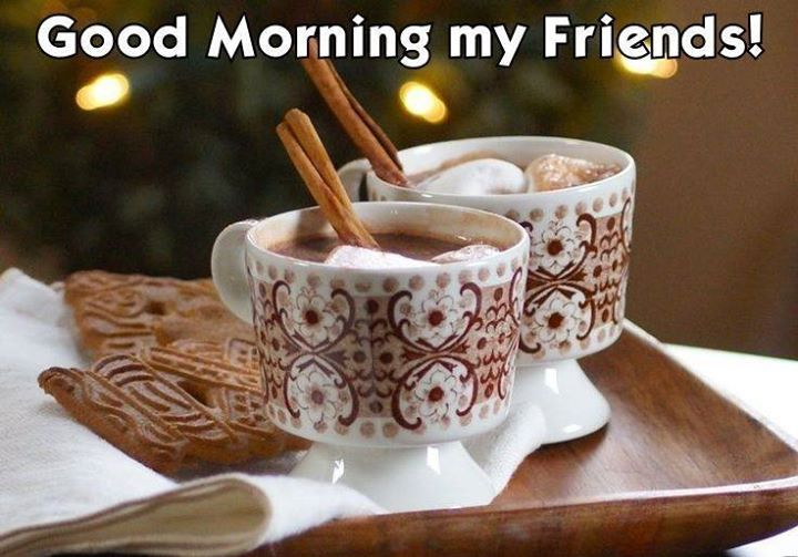 Good Morning Wishes For My Friends With Cups Of Sweet Coffee Nice Wishes