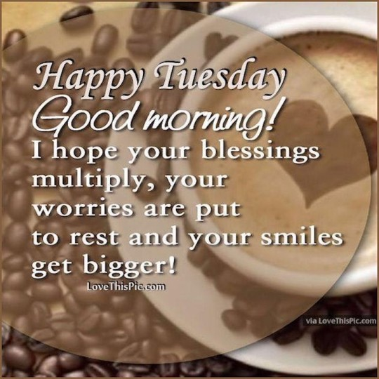 Good Morning Wishes With Coffee Beans For Tuesday Morning Wishes