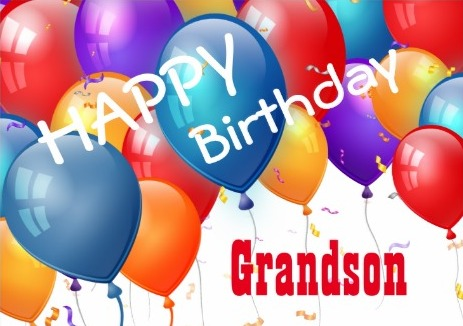 Graceful Grandson Birthday Card With Colorful Balloons