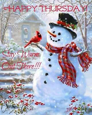 thursday happy winters morning wishes with snowman nicewishes