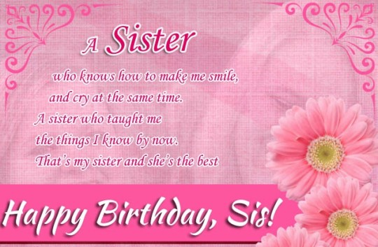 Lovely Birthday Wishes With Greetings For My Sister