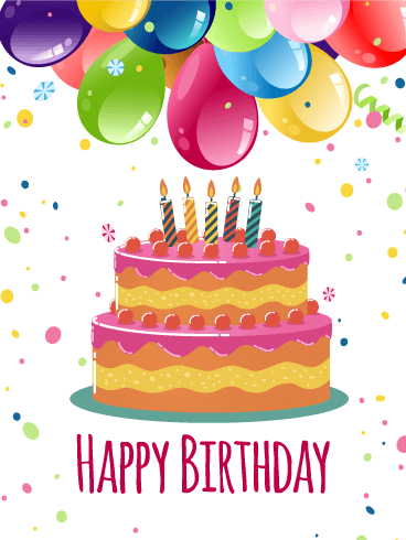Magnificent Birthday E-Card With Best Wishes And Cake