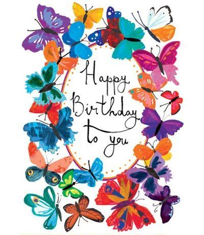 Popular Birthday Greeting Card With Butterfly Design