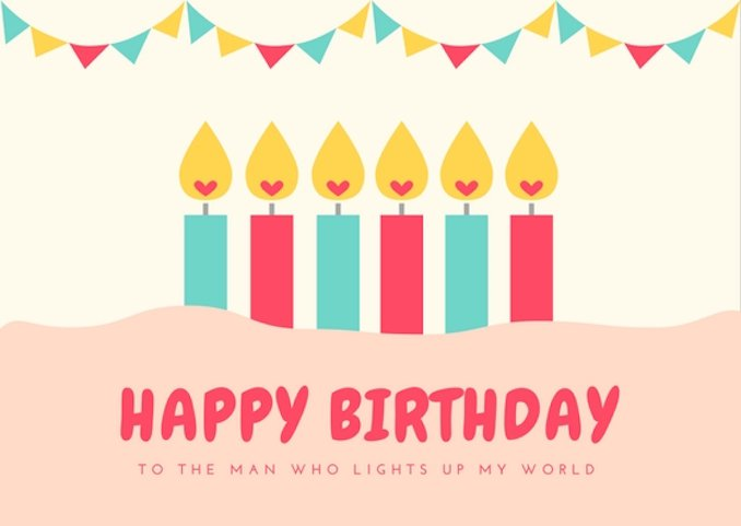 Hy Birthday Wishes Card With Glowing