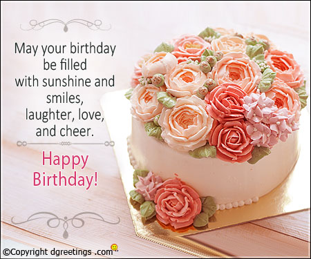 Happy Birthday Wishes With Flowers Cake For Your Special Day