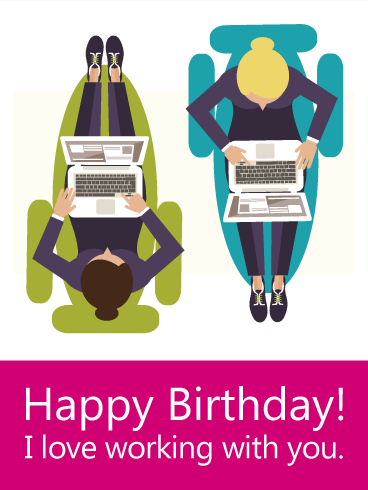 Classic Work Card Birthday Wishes Greetings E-Card For Best Employee