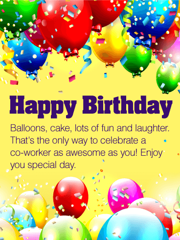 Colorful Balloons Birthday Wishes Greetings E-Card For Best Employee