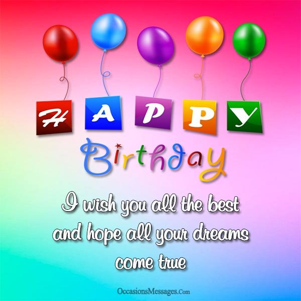 Colorful Balloons Employee Card With Special Hope And Success Of Your Life
