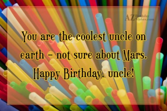 Colorful Birthday E-Card Greeting With Best Wishes For Uncle