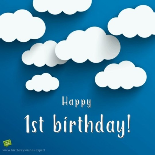 Creative 1st Birthday Wishes With Cloudy E-Card 7