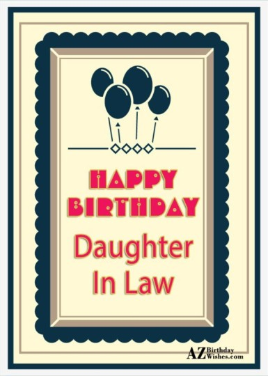 Daughter In Law Birthday Wishes Greeting E-Card For A Celebration Day