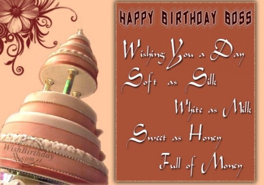 Delicious Cake Images For Birthday Wishes With Sayings E-Card For My Boss E7