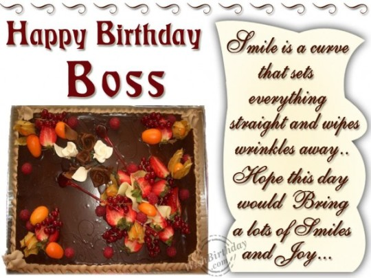 Delightful Cake Images For Birthday Wishes With Sayings E-Card For My Boss E7