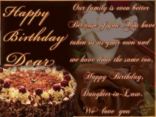 Delightful Daughter In Law Birthday Wishes Greeting E-Card