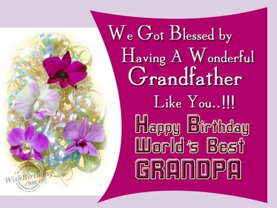 Elegant Birthday Wishes With  Flowers Greeting For A Decorative Day Of Grandpa