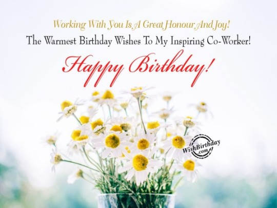 Fabulous Flower Birthday Card With Warm Wishes For Employee