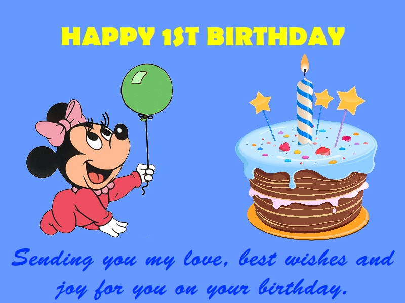 Fantastic 1st Year Birthday Wishes With Cake Quotes Nicewishes