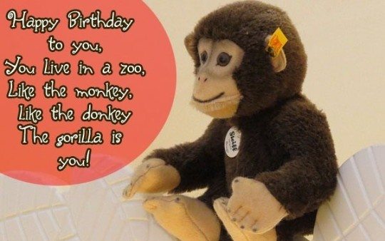 Funny Monkey Birthday Wishes With Greeting E-Card Sayings 7s