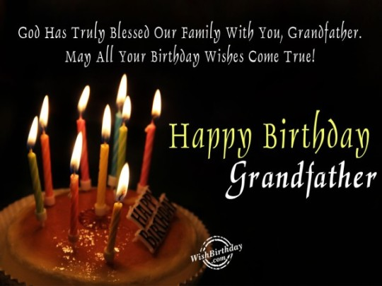 Glowing Candles Birthday Wishes with Saying Birthday Image Of Grandpa