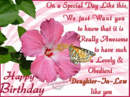 Happiest Daughter In Law Birthday Wishes Greeting E-Card