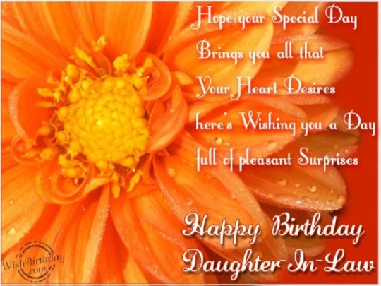 Marvelous Flowers Birthday Wishes E-Card With Greeting For Daughter In Law