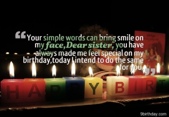 Sparkling Birthday Wishes With Quotes for Dear Sister