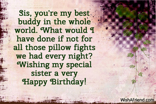 Special Birthday Wishes With Greetings For My Sister