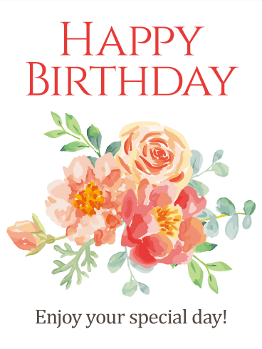 Speical Birthday Wishes Card With flower Design