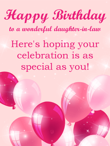 Sprakling Daughter In Law Birthday Wishes Greeting E-Card