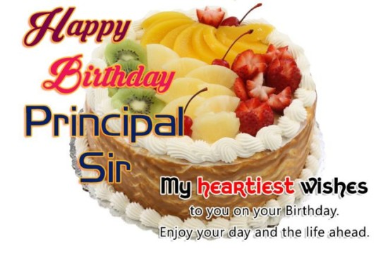 Stupendous Principal Birthday Greeting Fruit Cake For Great Life Ahead