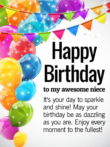 Sunshine Birthday Wishes Birthday E-Card Greeting For Niece 121s