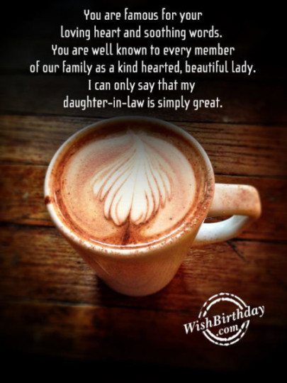 Supreme Daughter In Law Birthday Wishes Greeting E-Card With A Cup Of Hot Coffee
